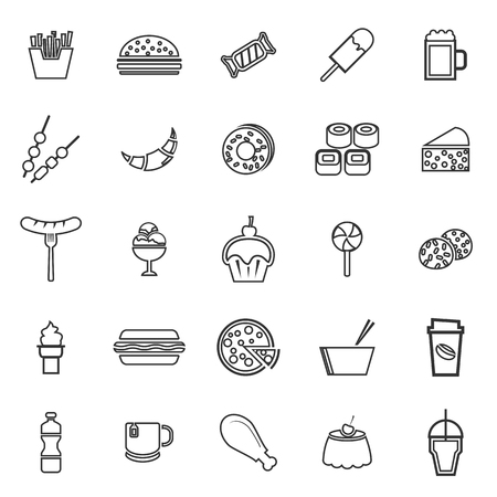 Fast food line icons on white background, stock vector Illustration