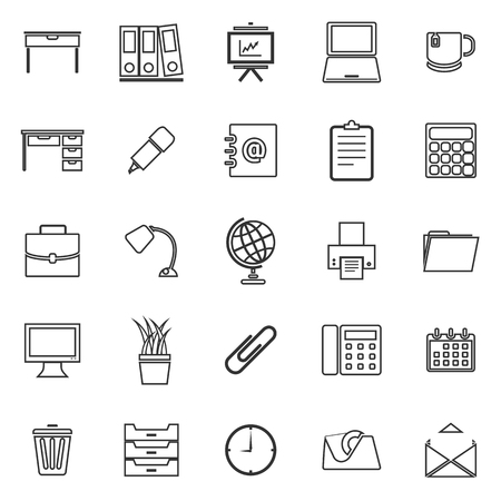 Workspace line icons on white background, stock vector