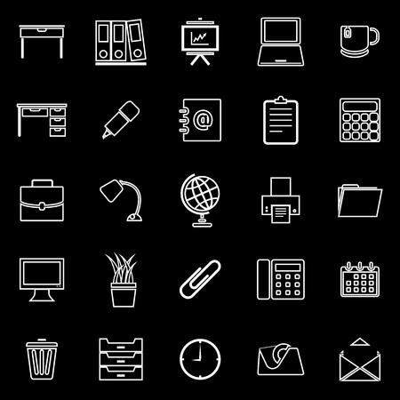 Workspace line icons on black background, stock vector Illustration