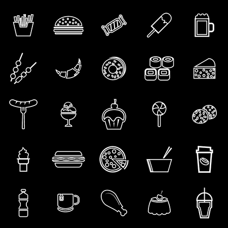 Fast food line icons on black background, stock vector Illustration