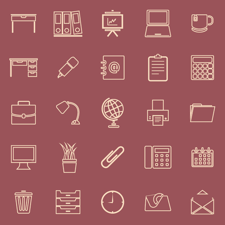 Workspace line color icons on red background, stock vector