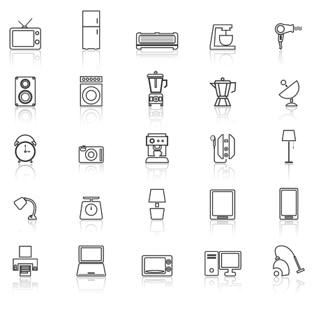 iron fan: Household line icons with reflect on white background, stock vector