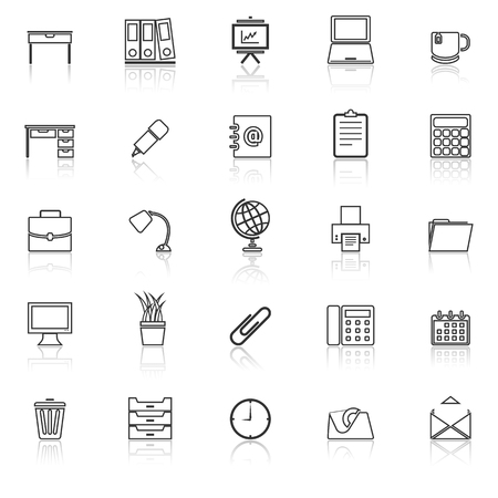 Workspace line icons with reflect on white background, stock vector Illustration
