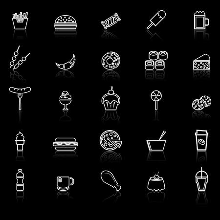Fast food line icons with reflect on black background, stock vector