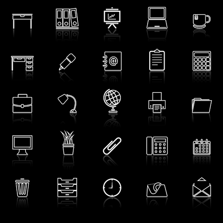 Workspace line icons with reflect on black background, stock vector