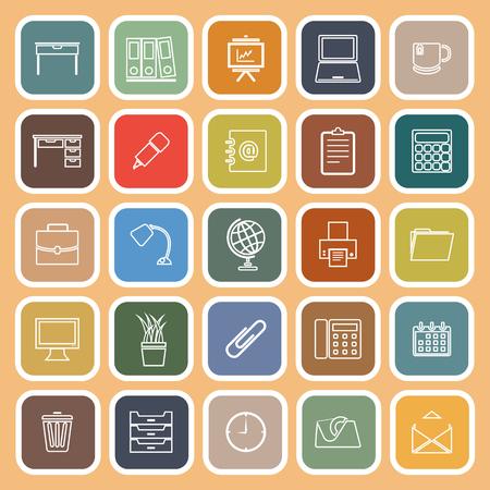 Workspace line flat icons on orange background stock vetor