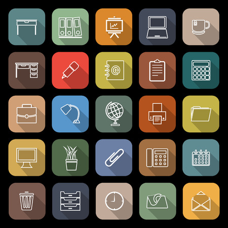 Workspace line flat icons with long shadow, stock vetor Illustration