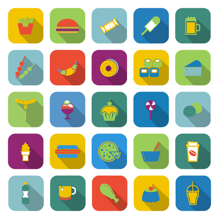 take out: Fast food color icons with long shadow, stock vector
