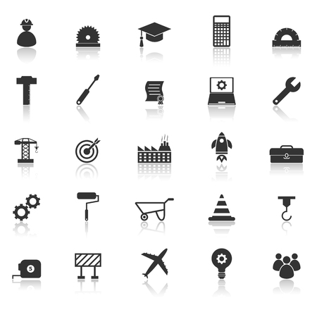 reflect: Engineering icons with reflect on white background, stock vector Illustration