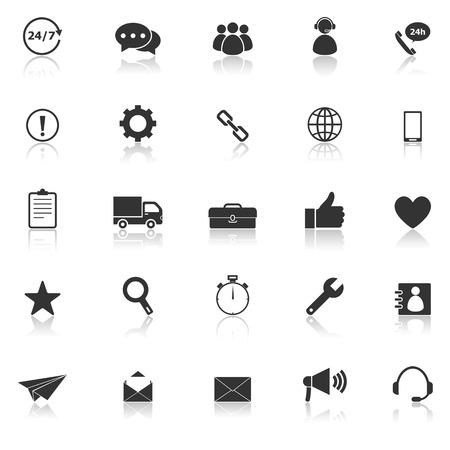 De pictogrammen van de klantendienst met nadenken over witte achtergrond, voorraadvector Stock Illustratie