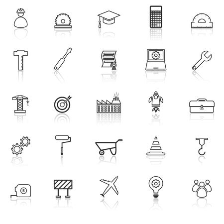 reflect: Engineering line icons with reflect on white background, stock vector Illustration