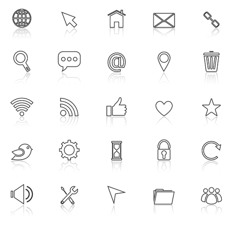 finding: Website line icons with reflect on white background, stock vector