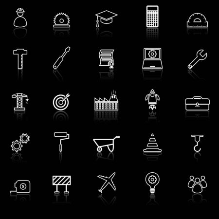 Engineering line icons with reflect on black background, stock vector Illustration