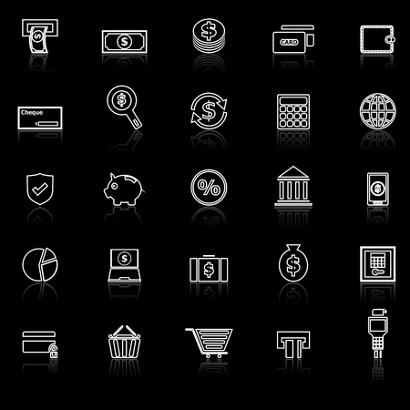 Payment line icons with reflect on black background, stock vector Illustration