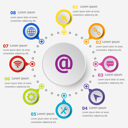 Infographic template with website icons, stock vector