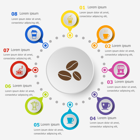 Infographic template with coffee icons, stock vector