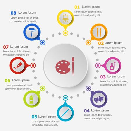 Infographic template with art icons, stock vector Illusztráció