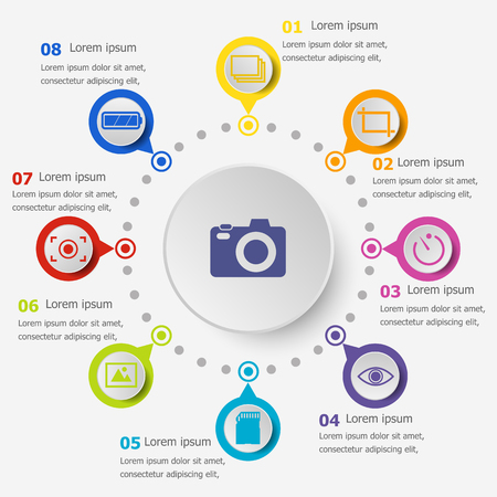 Infographic template with photography icons, stock vector Illustration