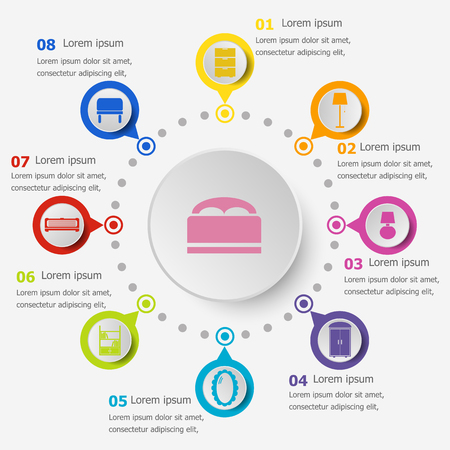 Infographic template with bedroom icons, stock vector illustration.