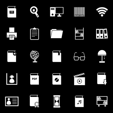 Library icons on black background, stock vector