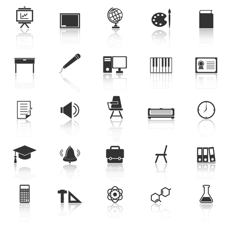 reflect: Classroom icons with reflect on white background, stock vector
