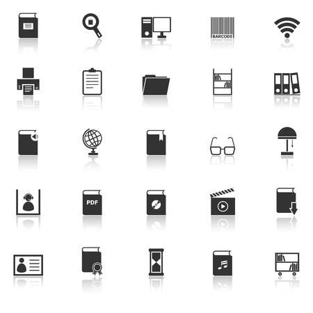 reflect: Library icons with reflect on white background, stock vector
