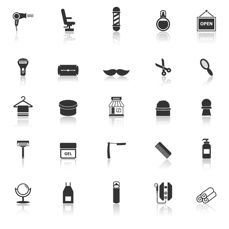 reflect: Barber icons with reflect on white background, stock vector