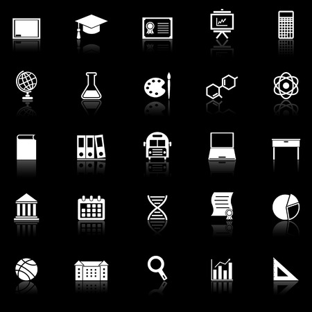 Education icons with reflect on black background, stock vector