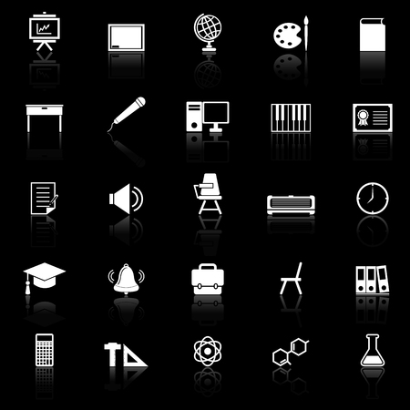 reflect: Classroom icons with reflect on black background, stock vector