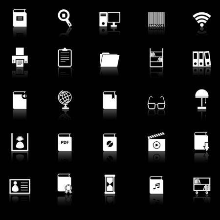Library icons with reflect on black background, stock vector Illustration