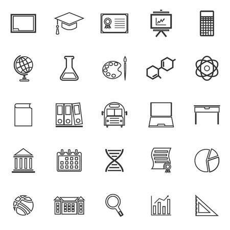 Education line icons on white background, stock vector Illustration