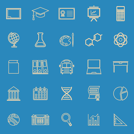 Education line color icons on blue background, stock vector