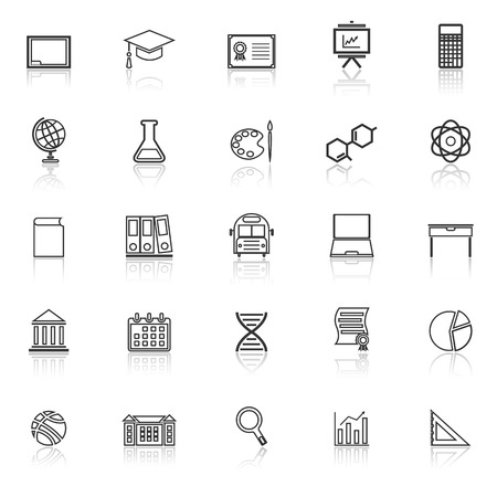 reflect: Education line icons with reflect on white background, stock vector