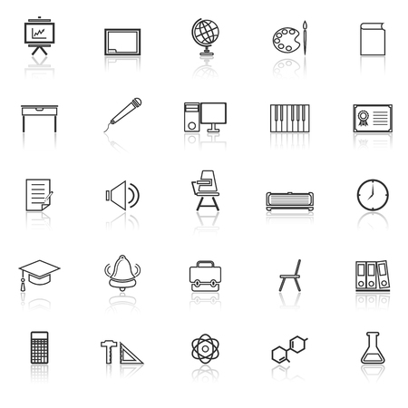 reflect: Classroom line icons with reflect on white background, stock vector Illustration