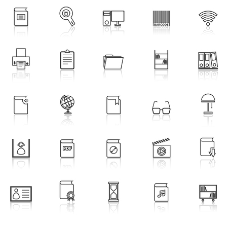 reflect: Library line icons with reflect on white background, stock vector