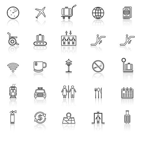 reflect: Airport line icons with reflect on white background, stock vector