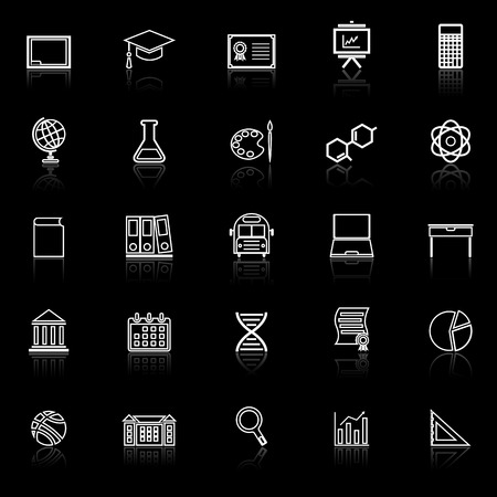 Education line icons with reflect on black background, stock vector