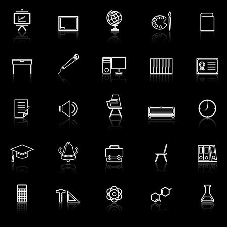 reflect: Classroom line icons with reflect on black background, stock vector Illustration
