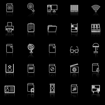 Library line icons with reflect on black background, stock vector Illustration