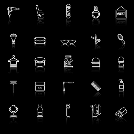 Barber line icons with reflect on black background, stock vector