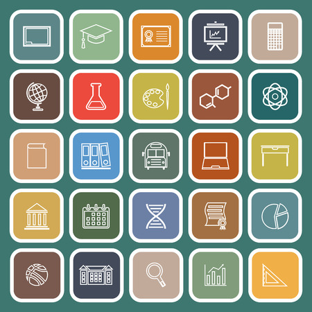 Education line flat icons on green background, stock vector Illustration