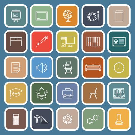 mathematics: Classroom line flat icons on Blue background, stock vector