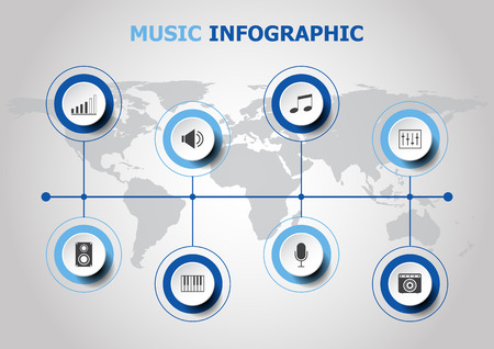 audio mixer: Infographic design with music icons, stock vector Illustration