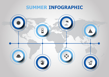 voyage: Infographic design with summer icons, stock vector