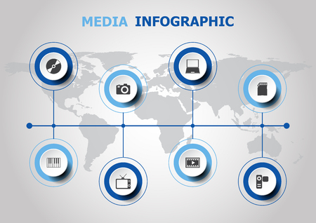 camera film: Infographic design with media icons, stock vector