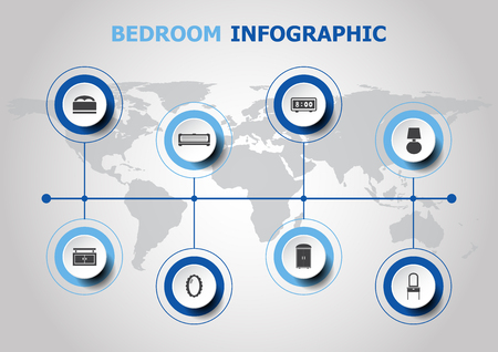 Infographic design with bedroom icons, stock vector