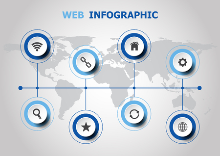 Infographic design with web icons, stock vector