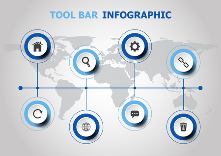 Info graphic design with tool bar icons. Ilustrace