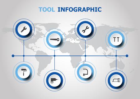Progettazione di Infographic con le icone dello strumento, vettore di riserva. Archivio Fotografico - 88026035