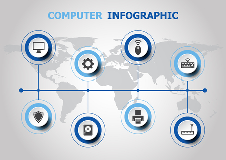 Info graphic design with computer icons Illustration